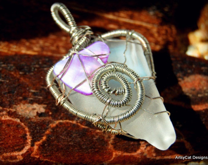 Beach Glass Pendant, Sea Glass Pendant, White Beach Glass, Mother of Pearl, Double sided, Wire wrap pendant, with Free Mini PLUMERIA CLIP