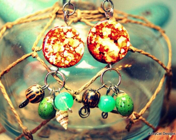 Hawaiian earrings, Turtle Shell Mother of Pearl, Shell, Wood, & Glass beads, Tropical, Beach, Boho, Ocean Jewelry, FREE Mini Plumeria clip