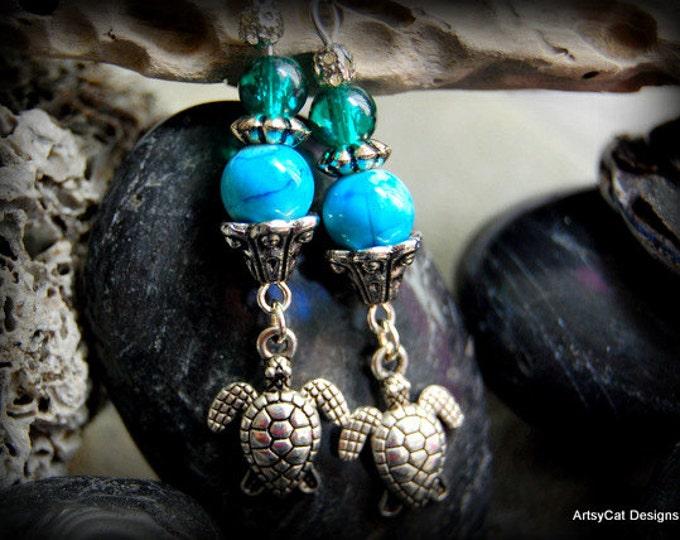 Turtle Honu Earrings -Choose your own custom color! Hawaiian Honu- Gift Summer Ocean Sand Surf Luau Comes with a FREE mini PLUMERIA HAIRCLIP