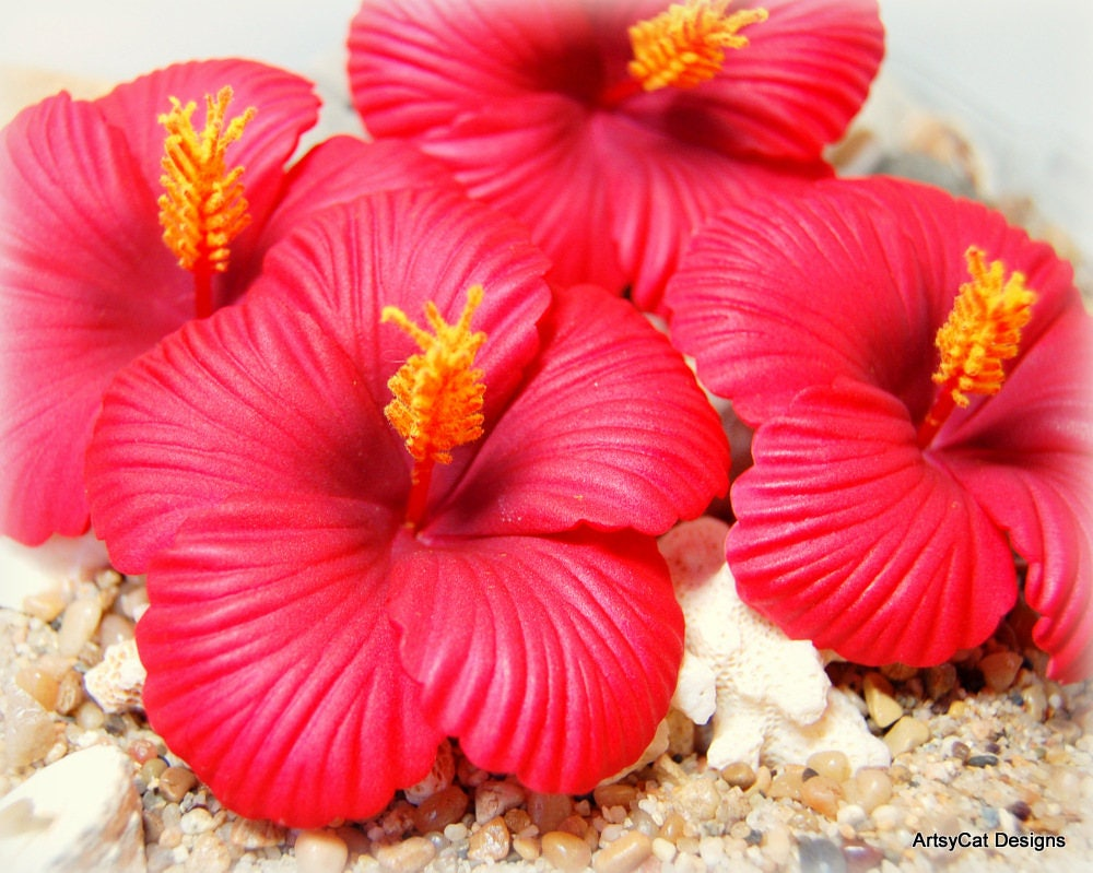 Large 3 Red Hibiscus Hair Clip Hawaiian Hibiscus Flower Moana Hair