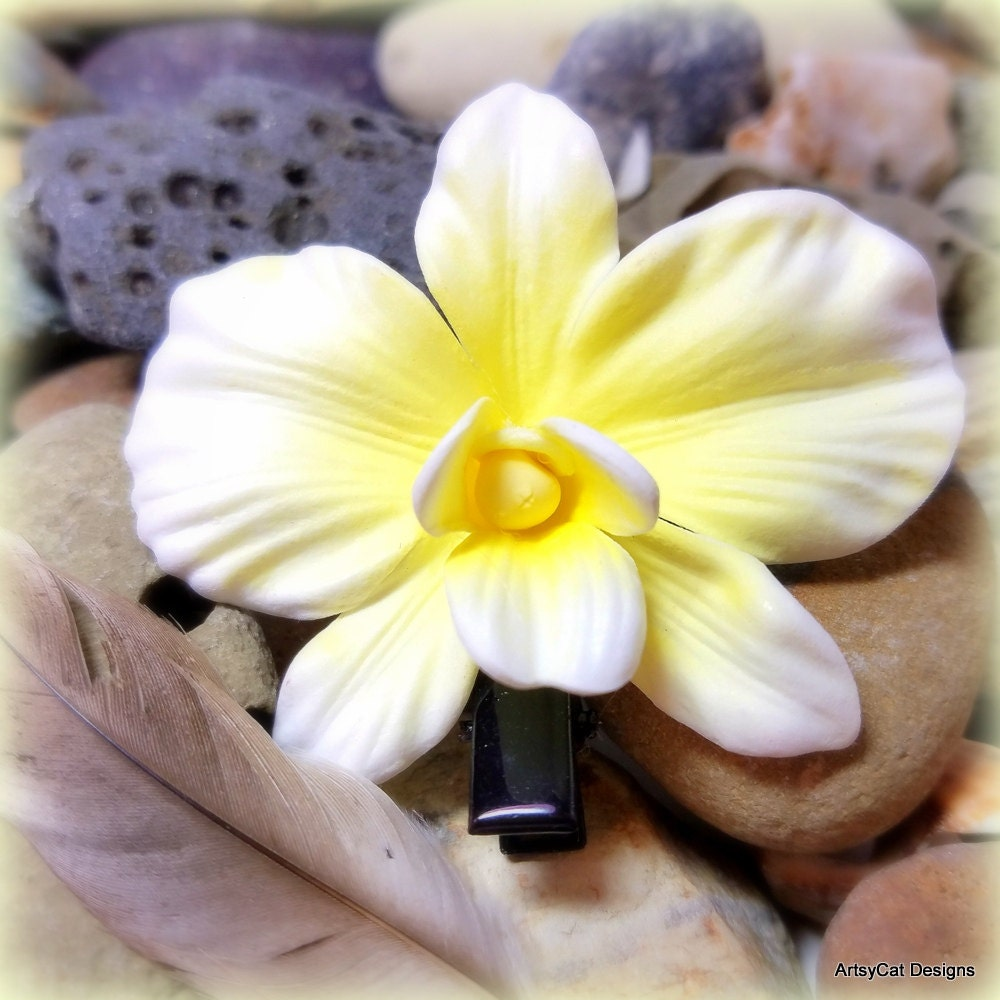White Orchid Hair Clip Yellow Center White Hair Flower Orchid