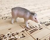 Antique Miniature 0.75 quot x 1.5 quot Pig German Bisque Mini Figurine porcelain Piglet Doll Pet Farm toy zoo Animal Germany Figure dollhouse
