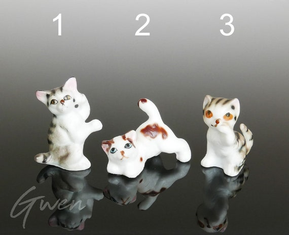 White Cat Kitten Miniature Dollhouse Doll House Picture