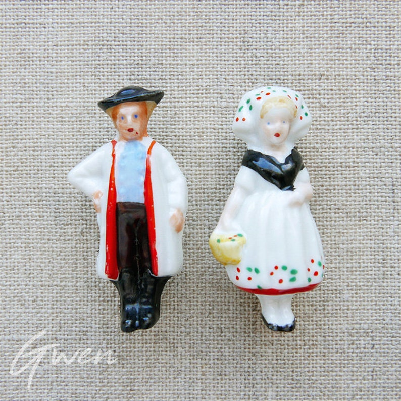 Antique German Miniature Doll Couple Pin Brooch Jewel Germany Bisque Porcelain Mini Figurine Circa 1930 Art Deco