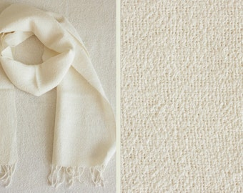 Exclusive Handwoven Dirty-White Boucle Linen Scarf