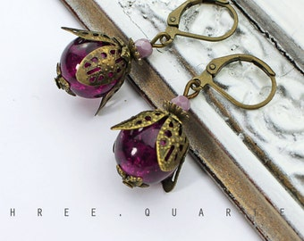 Earrings, berries, purple, violet, aubergine, antique, bronze, wedding, gift, romantic, lilac, noble, bridesmaid, bachelor, hippie