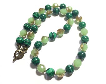 green malachite and crystal necklace beaded necklace woman necklace
