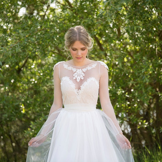 Noemi Unique Wedding Dress Boho Vintage Inspired Sleeved