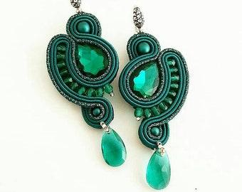 Emerald soutache earring - pendant earring - present for her - green earring - statement -crystal earring - long earring