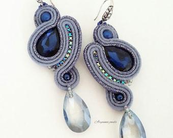 Soutache earring blue - Pendant earring - Earring with crystal
