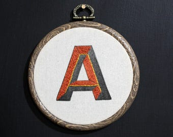 """A - Letterpress and Hand Embroidery Retro Style Type Hoop - 4"""" diameter"""