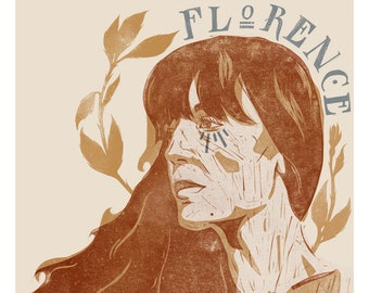 Florence Welch/ Florence & The Machine Giclee Print - Fine Art Print from Relief Print