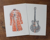 George Harrison Sgt Peppers Jacket Gretsch Guitar - Original Pencil Drawings - 6.5 quot x 9 quot