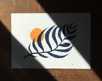 Palm & Sun Relief Lino Print - Orange and Blue - A5