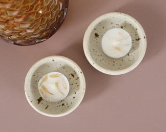 70s Fleck Tealight Holders - Mini Dishes - Stoneware Ceramic - Pair