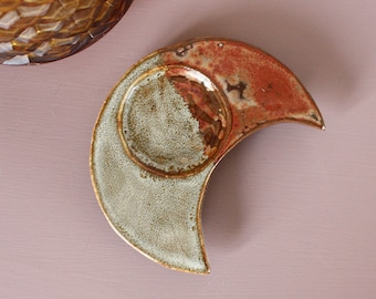 Crescent Moon Tealight Holder with Legs - Copper Snake - Stoneware