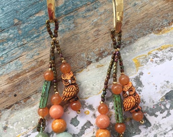 Boho Owl Earrings