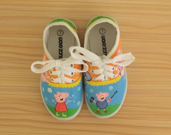 Peppa Pig and George inspired - Handpainted kids shoes (Ready to ship in SIZE 9)