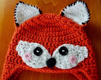 Fox Hat, Feminine Fox Hot, Fox Hat Crochet, Fox Hat with Earflaps, Baby Gift, Baby Shower Gift, Christmas Gift for Baby, Photo Prop Hat