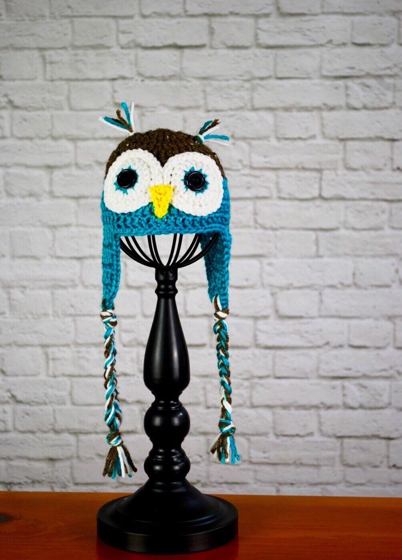 Owl Hat  Newborn to Adult sizes available Animal Hat image 0
