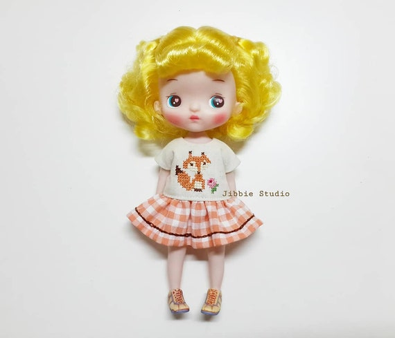 Barbie Handmade Sewn dress Yellow floral with lace fashion doll clothes M35