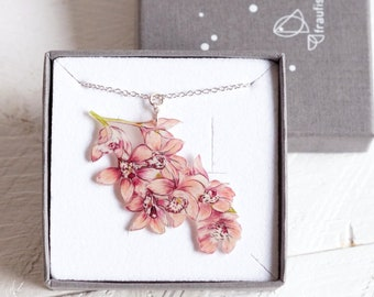 illustration of pink cherry blossoms at a silver chain