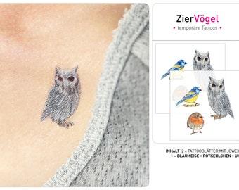 White Owl tattoo, Blue Tit tattoo, Robin tattoo, temporary tattoos, bird tattoos, bird tattoo wrist, small tattoos