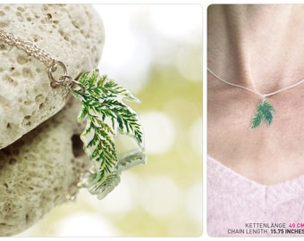 fern jewellery, chain with illustration fern