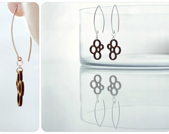 wooden circles at sterling silver earrings