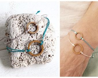 minimalist bracelet with circle, bracelet ring • SMALL