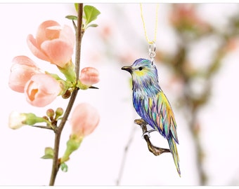 delicate chain with illustration colourful Lilac breasted Roller; - a perfect gift for bird lovers
