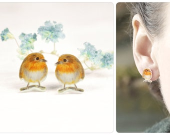sketched robins as earrings with sterling silver studs