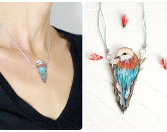 bird necklace, Lilacbreasted roller, wearable art, sing bird jewelry, bird illustration, shimmering feathers, hand-drawn