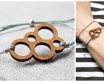 minimalistic bracelet with wooden rings