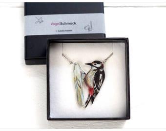 woodpecker drawing, illustration bird, woodpecker, woodpecker chain, woodpecker pendant, handmade chain, woodpecker art, bird pendant