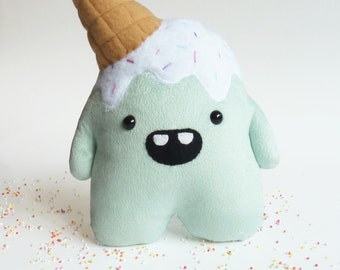 Plush monster toy - Stuffed cuddly toy - plush monster toy - Ice cream - stuffed monster - Plushie - Softie - Whoops the clumsy monster