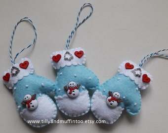 Felt Mitten Christmas Ornaments/Decorations/Baubles.Snowman Mittens.Kawaii Snowman.Snowman In The Snow Decoration/Ornament/Bauble