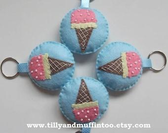 Felt Ice Cream Cone Keyring/Keychain/Keyfob, Bag Charm,Planner Charm.Party Favour,Bridal/Baby Shower,Teacher Gift,Stocking Filler/Stuffer