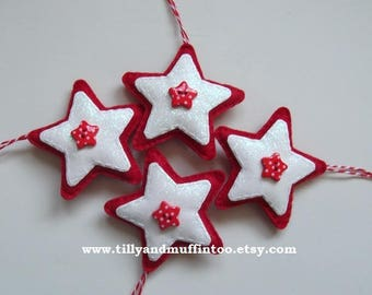 Felt White & Red Star Christmas Ornaments/Decorations/Baubles.Scandinavian Style Christmas Decorations/Ornaments/Baubles.White And Red Stars