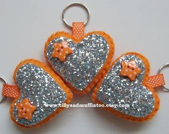 Handmade Felt Orange Glitter Heart Keyring/Bag Charm.Party Favors,Wedding Favours,Bridal Shower,Stocking Stuffers/Fillers.Teacher Gift.
