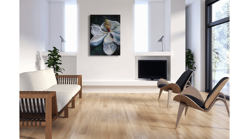 Magnolia Grandiflora large flower painting acrylic canvas and image 0