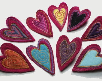 upcycled jewelry, felt brooch, heart brooch, felted wool, heart brooch, recycled fabric, felt jewelry, fabric jewelry, recycled jewelry