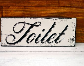 Toilet Sign Plaque Shabby Chic Rustic Wood Sign Hand Painted Reclaimed Wood  Sign Wall Decor French Bathroom Sign French Le Bain La Toilette