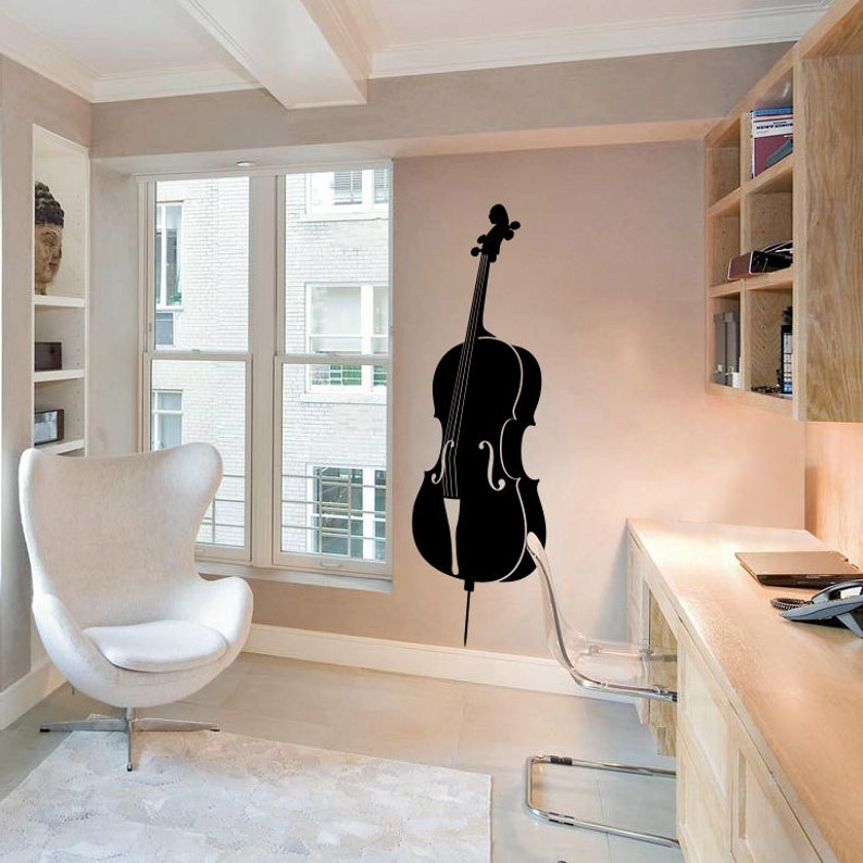 Violin Cello Wall Decal Cute Vinyl Sticker Home Arts Silhouette Music Wall Decals WT069