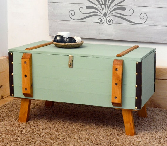 Vintage Antique Chest Trunk Coffee Table Shabby Chic Green | Etsy