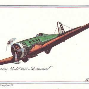 Breese 5 Monoplane from Print by ROY ANDERSEN Vintage 1974 Aircraft Postcard