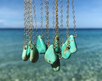 number 8 turquoise on 14k gold fill or sterling silver chains