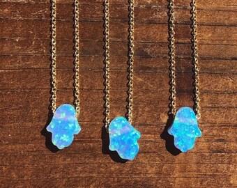 blue opal hamsa hand charm necklace