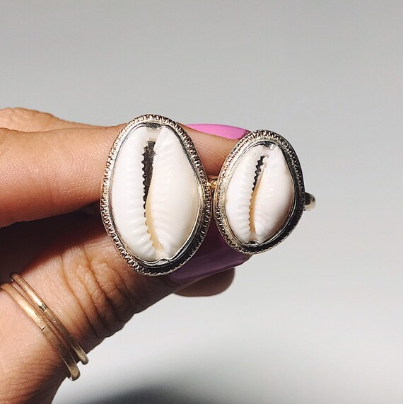 silver & gold cowrie shell sunshine rings - 25% towards Bahamas post hurricane Dorian food aid