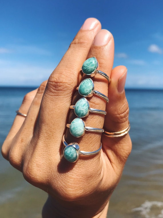 amazonite ring in silver or gold, made to order